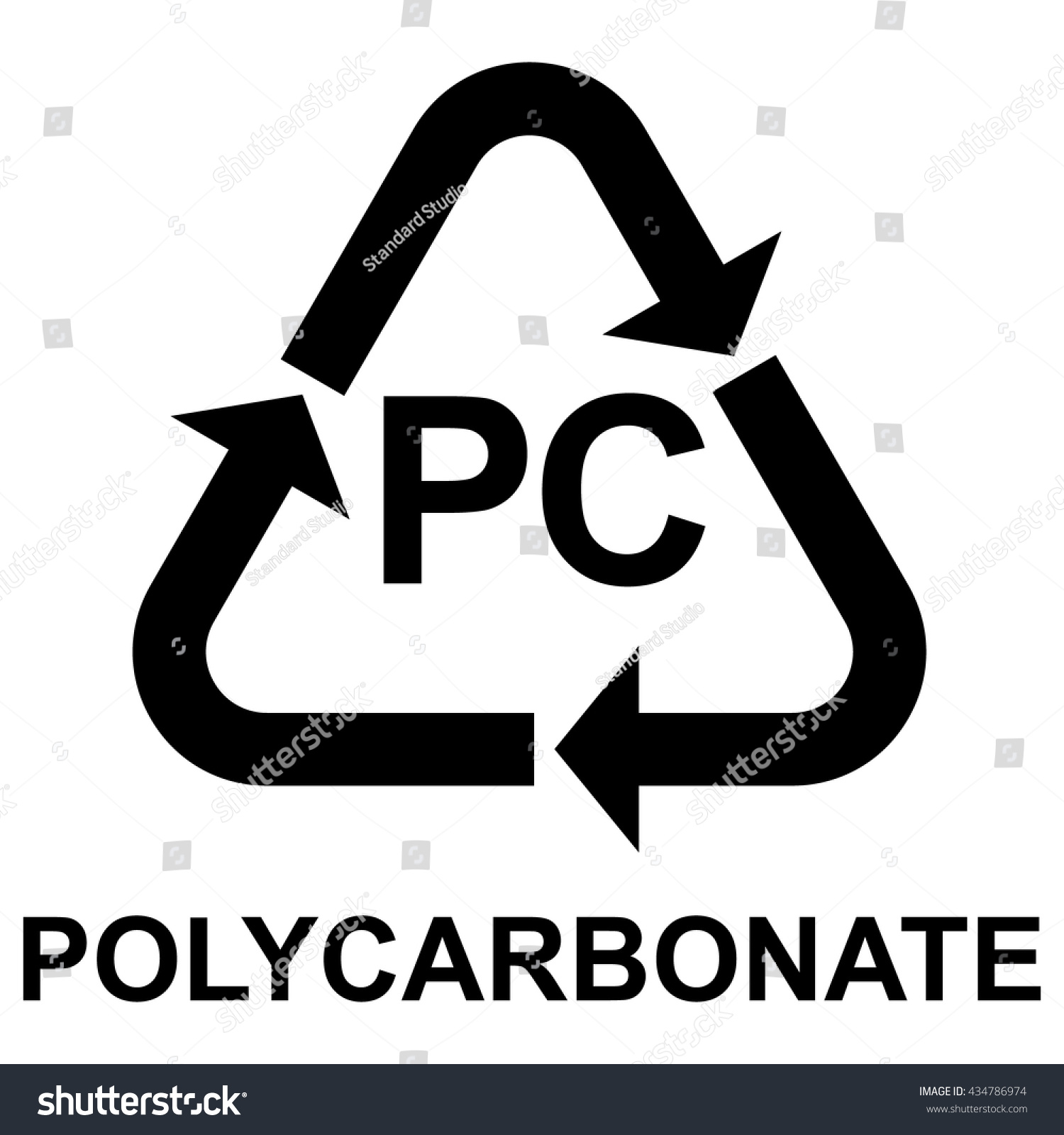 Plastic Recycling Symbol Pc Polycarbonate Vector Stock Vector Hd