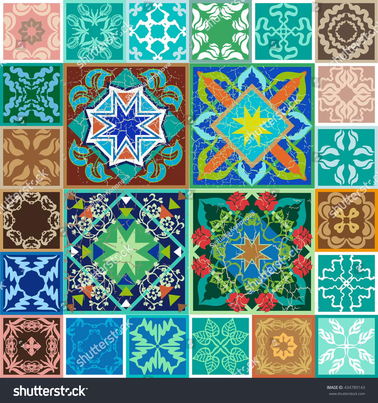 Flooring Made Old Spanish Ceramic Tiles Stock Illustration 434789143
