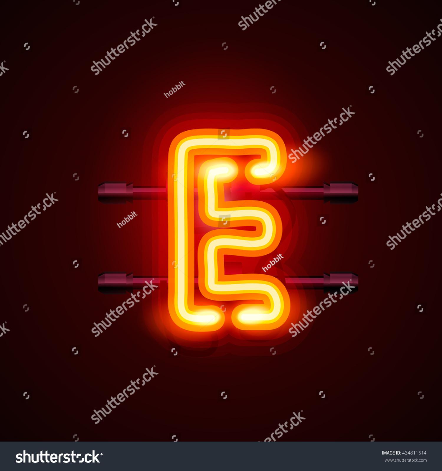 Neon City Font Letter E Signboard Stock Vector 434811514