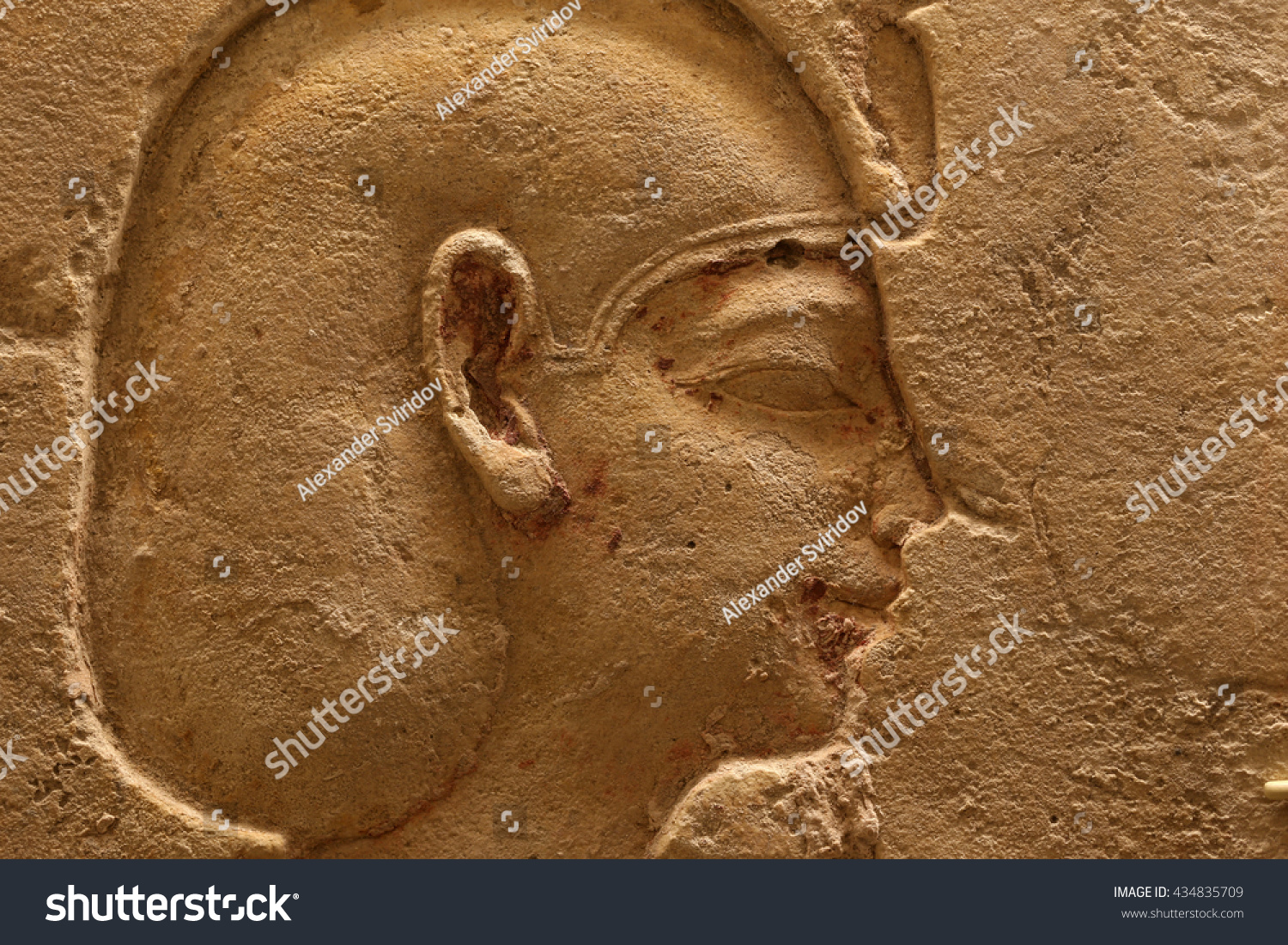 Ancient egyptian relief carving showing face stock photo