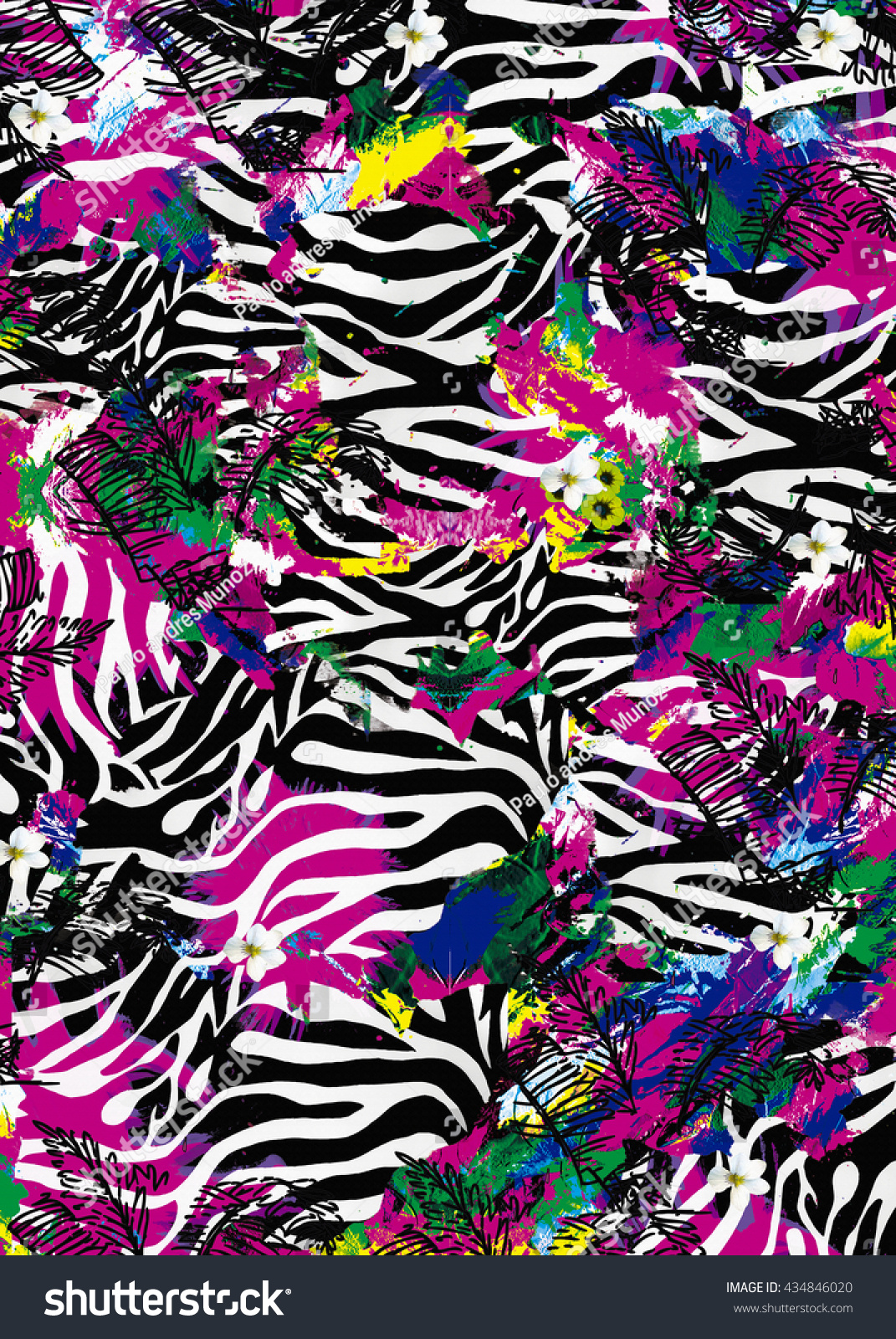 zebra spots. sublimation print design Design For textile printing neon prints abstract