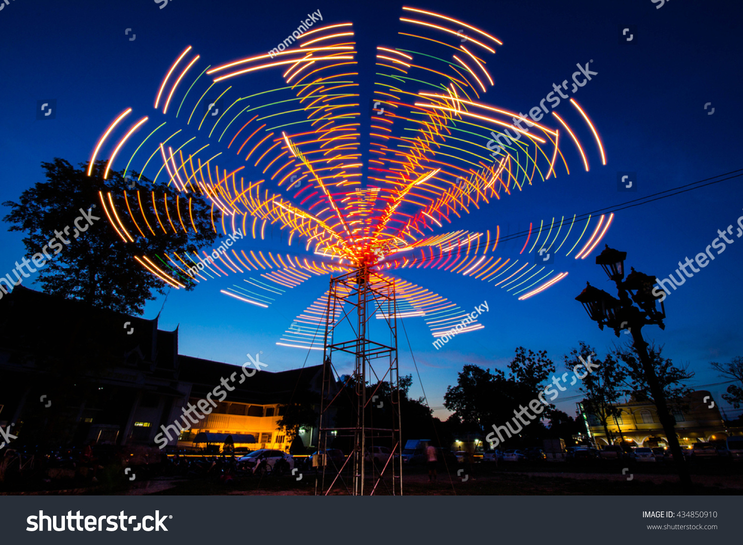 Holiday Lights In Abstract Slow Shutter >> Royalty Free Slow Light Speed Shutter Silhouette 434850910 Stock