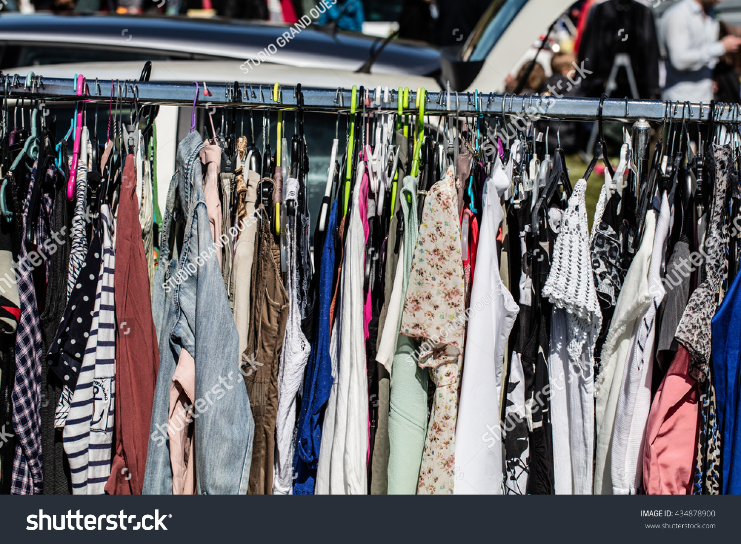 Various Fashion Female Clothes On Display Stock Photo (Edit