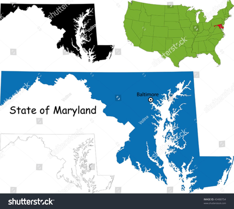 State Of Maryland Usa Stock Vector Illustration - Maryland map usa