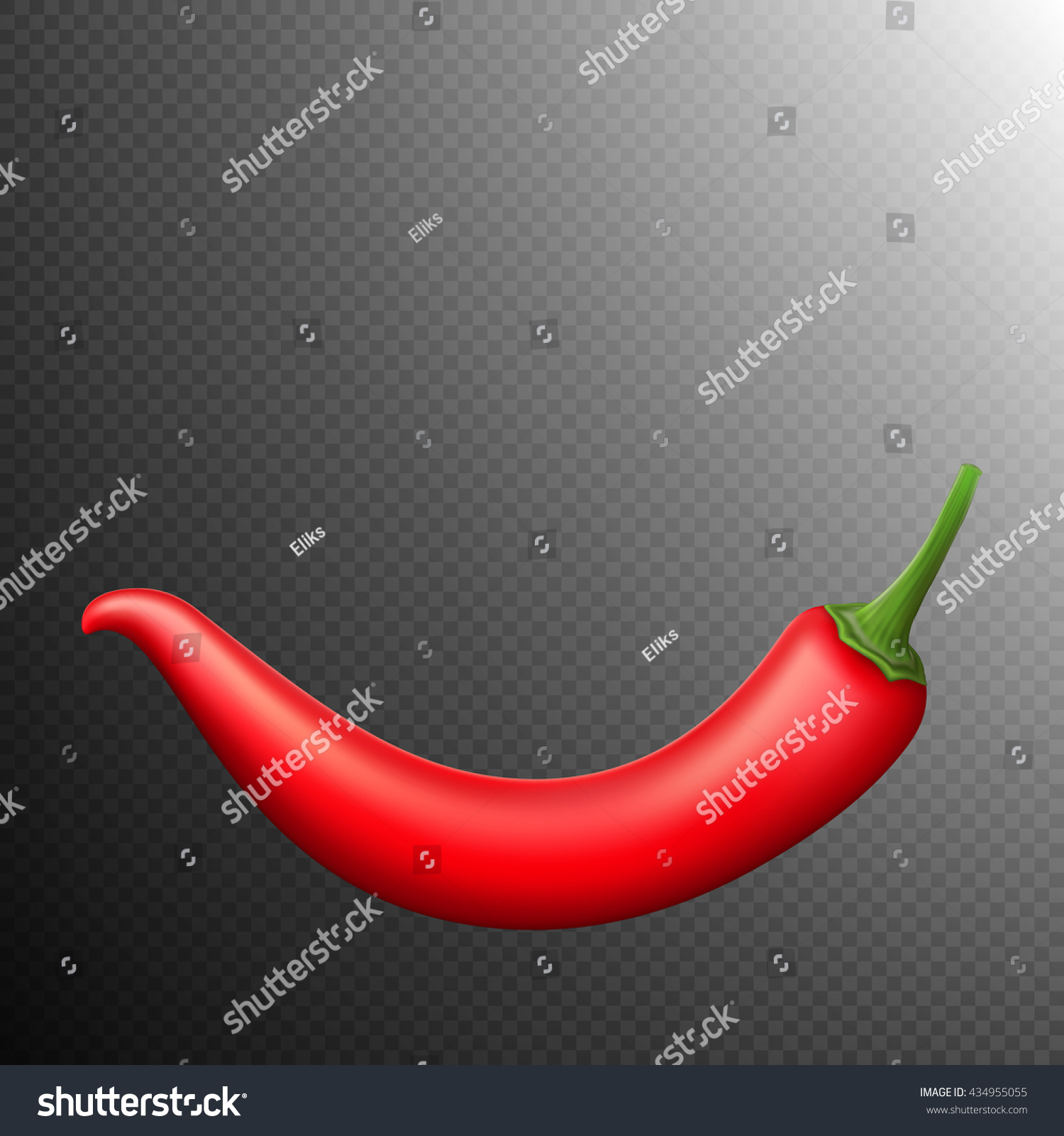 red chili pepper isolated on transparent stock vector