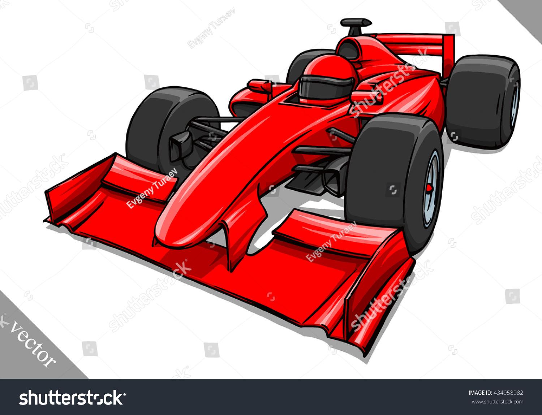 funny fast cartoon formula race car stock vector 434958982
