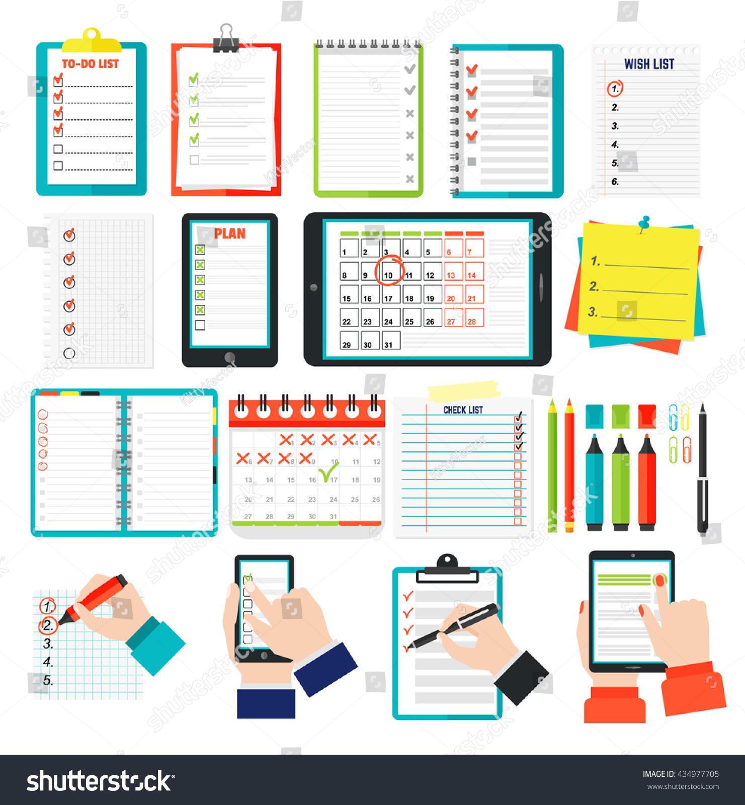 Calendar Illustration List : Agenda list concept vector illustration stock