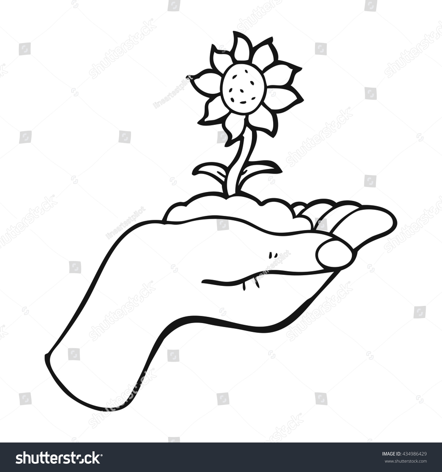 Freehand Drawn Black White Cartoon Flower Stock Vector Royalty Free