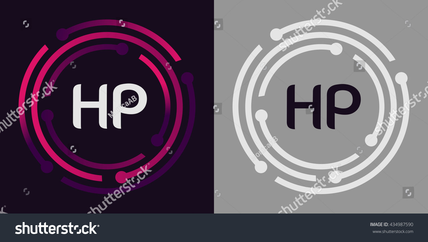 Hp Letters Business Logo Icon Design Stock Vector 434987590 ...