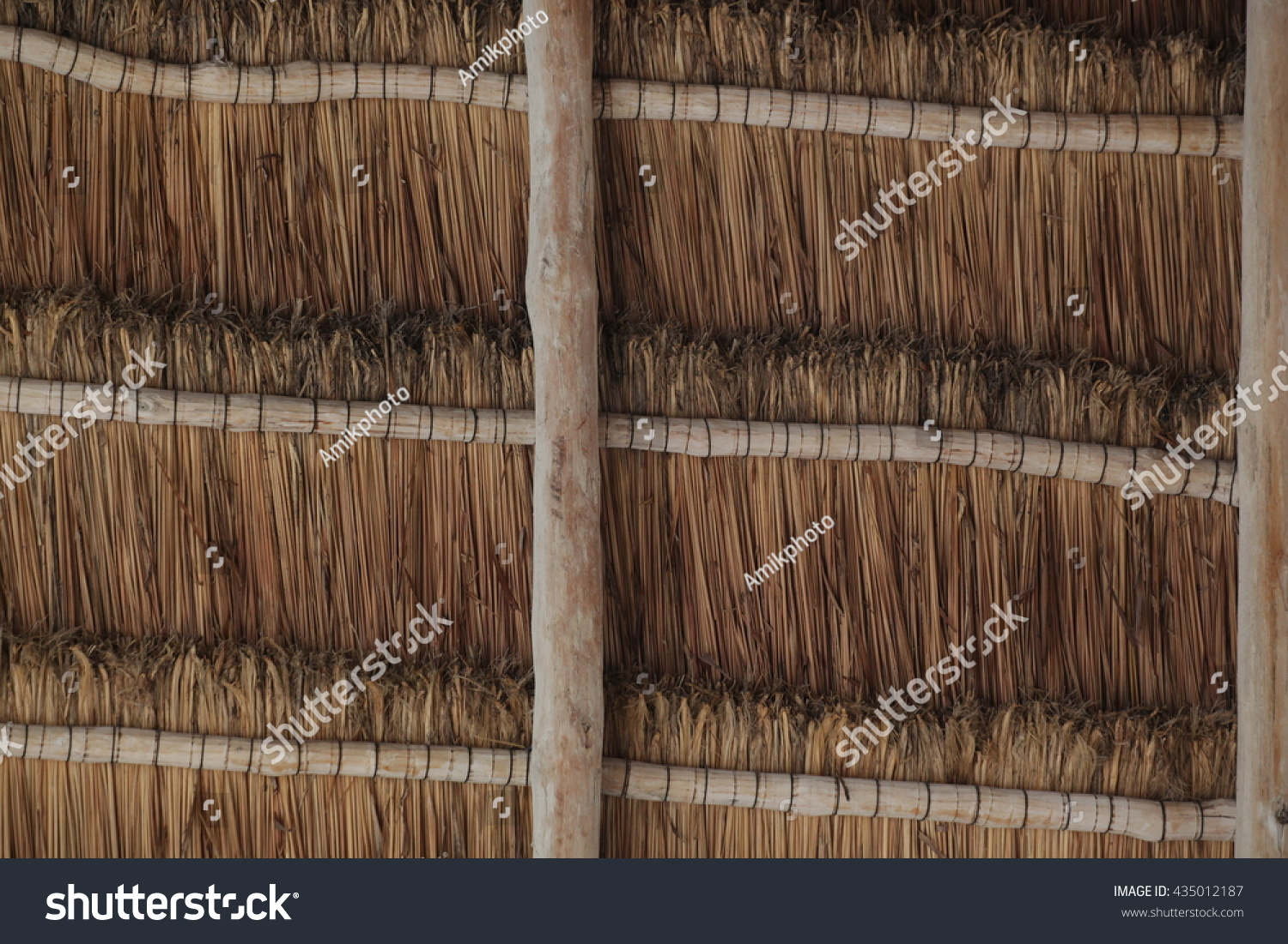 Brown Reed Roofing Texture Macro Stock Photo
