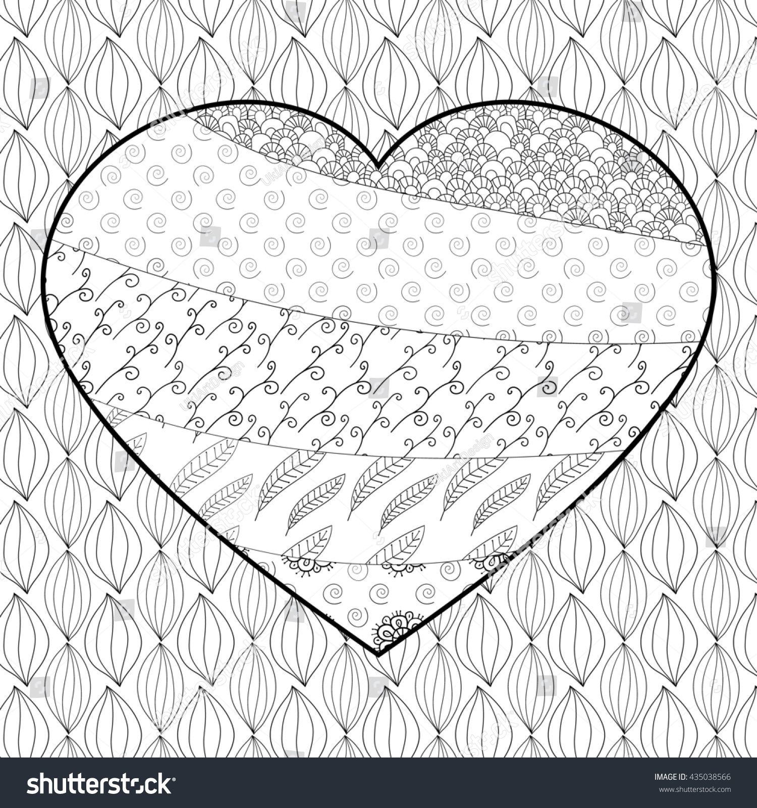 Ze zen inspiration coloring book - Heart Adult Coloring Book Page Soft Intricate Pattern Zentangle Inspired Whimsical Line Art