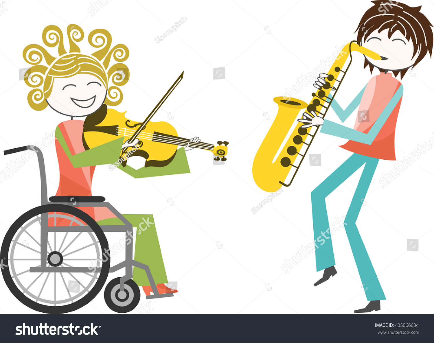 Disability Music A Woman Wheelchair Plays Violin Stock