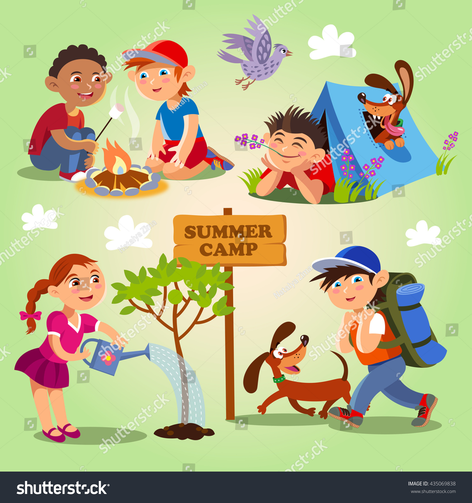 Spring And Summer Childs Outdoor Activities Camp Vector Set On A Yellow
