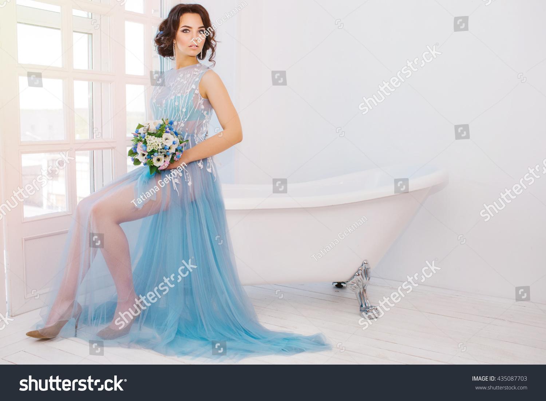 Beautiful Brunette Bride Wedding Dress Colors Stock Photo Edit Now