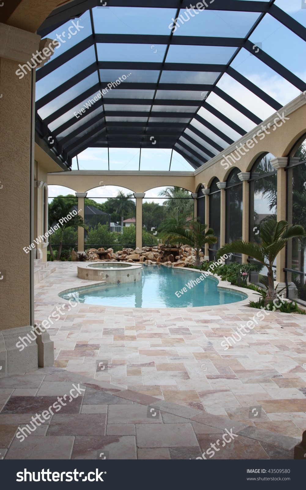 Lanai pool and patio screen stock photo 43509580 for Lanai deck