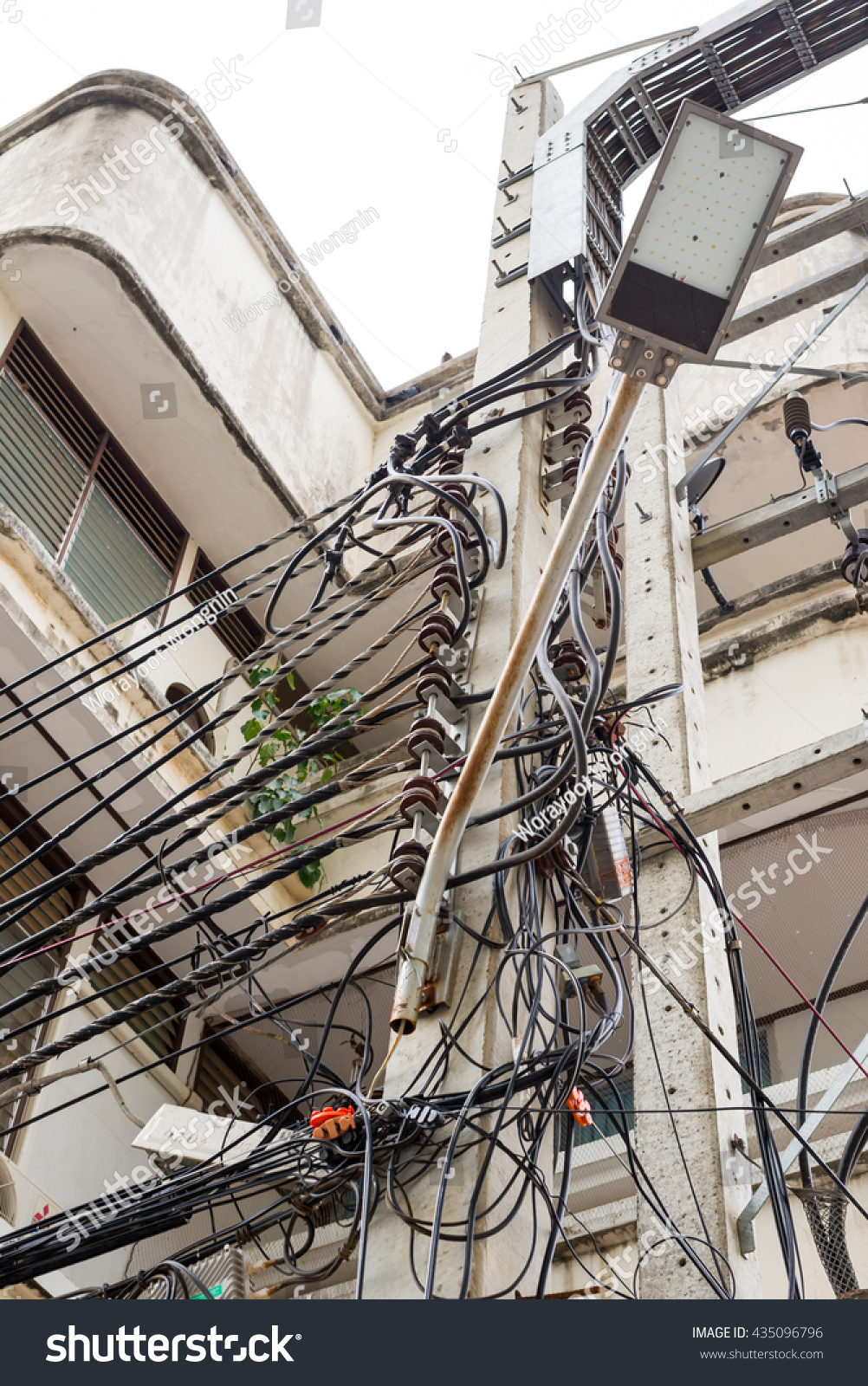 Outdoor Electricity Pole Front Building Stock Photo Edit Now Wiring Receptacle In Of The