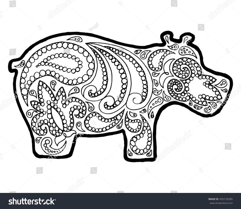 Animal Zen Doodle Coloring Book Zenart Zentangle Hippopotamus