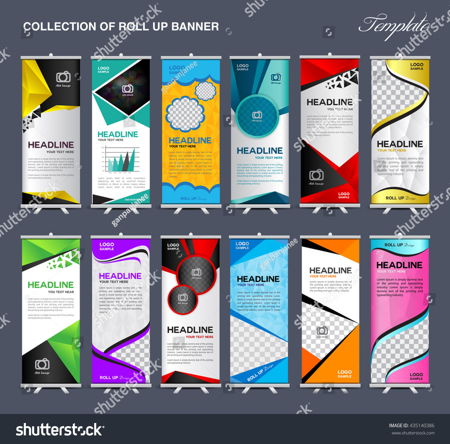 Marketing Exhibition Stand Vector : Collection roll banner design stand template stock vector