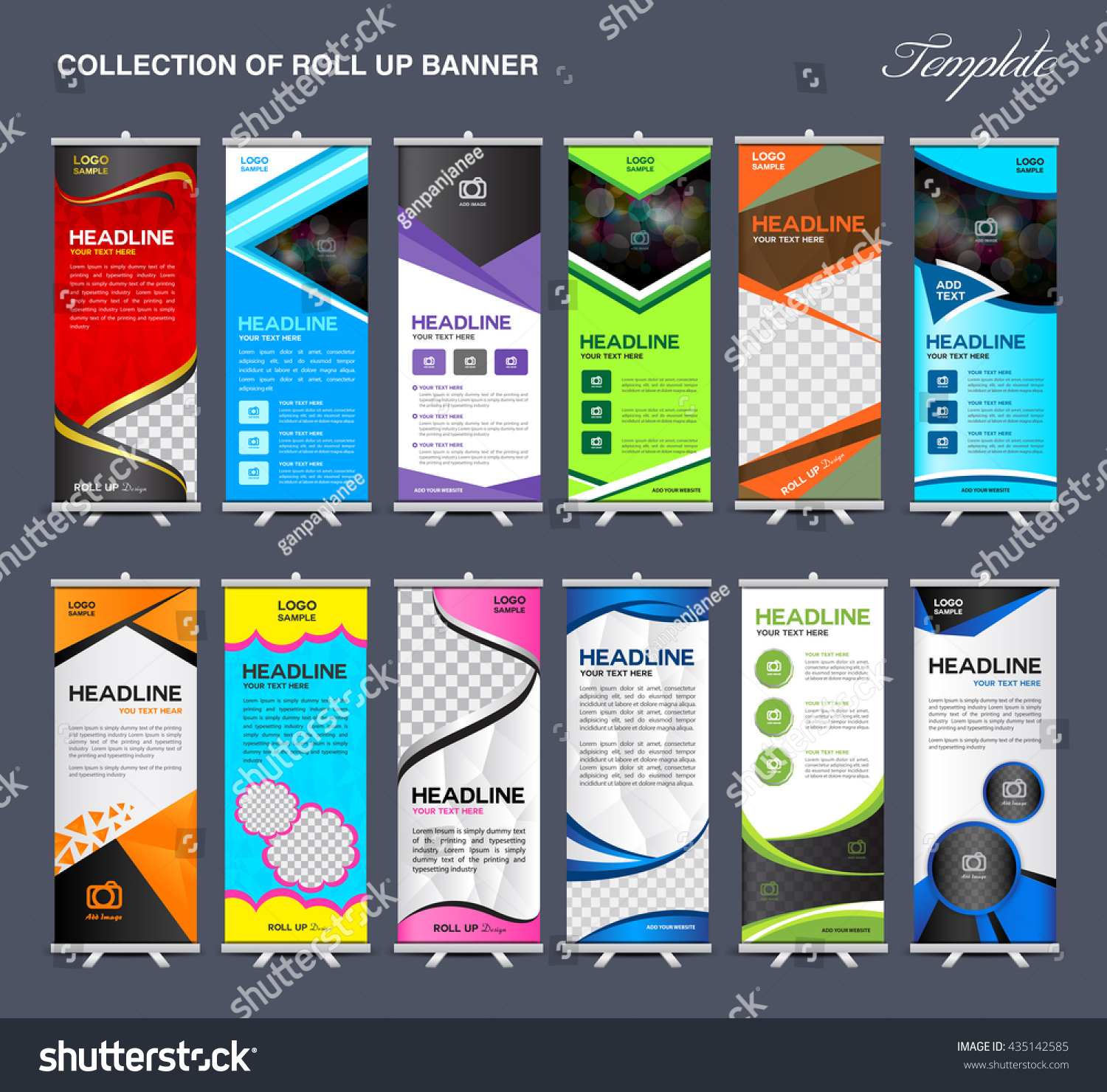 collection roll banner design stand template stock vector collection of roll up banner design stand template flyers design advertisement display layout