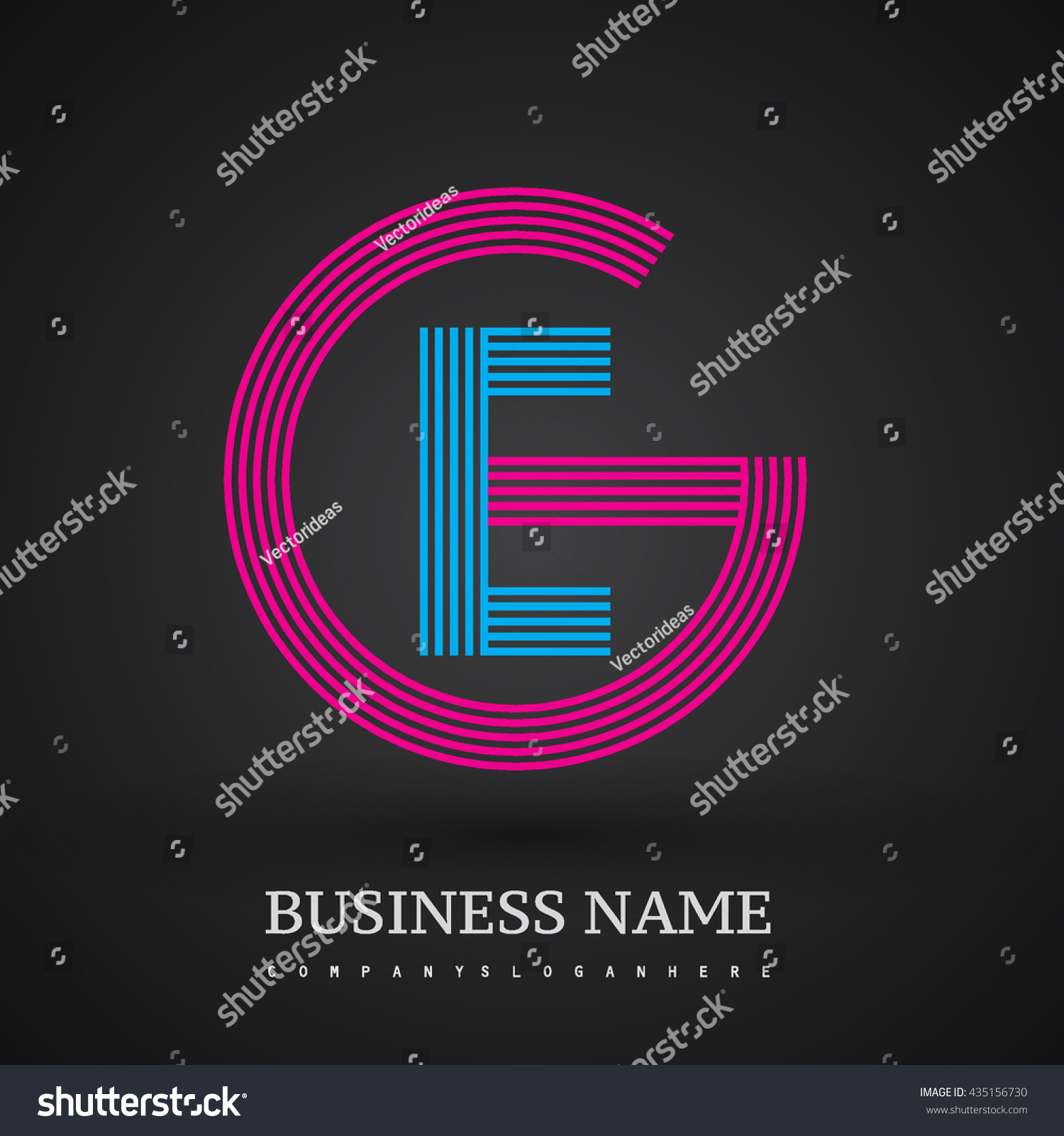 Letter Ge Linked Logo Design Circle Stock Vector 435156730