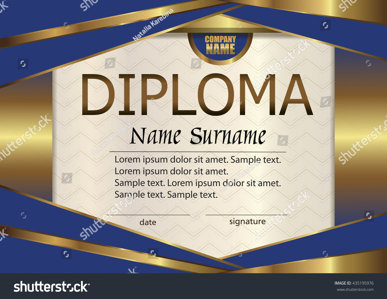 Vector Diploma Certificate Template Award Winner Stock Vector