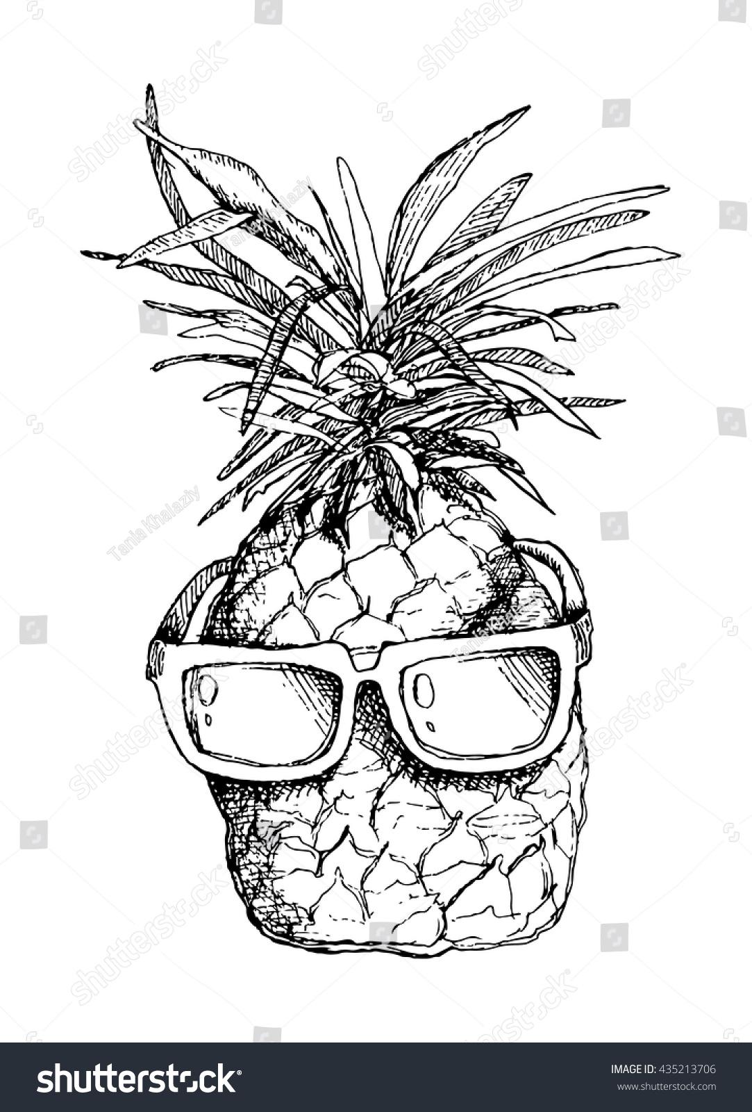 Vector Sketch Pineapple Sunglasses Stock Vector 435213706 ...