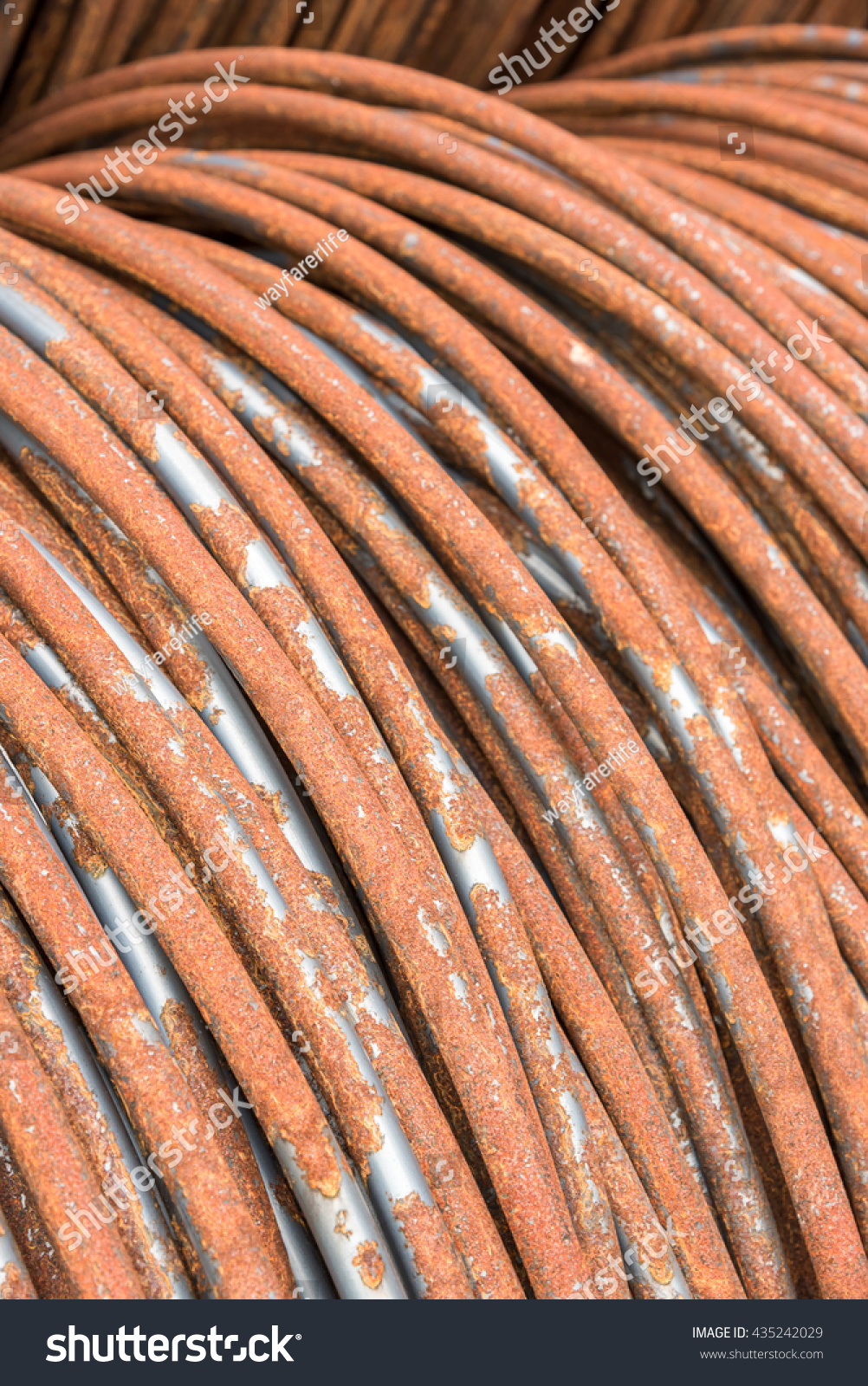Close Rust Aluminum Wire Rod Industrial Stock Photo Edit Now Copper To Wiring Up For Construction