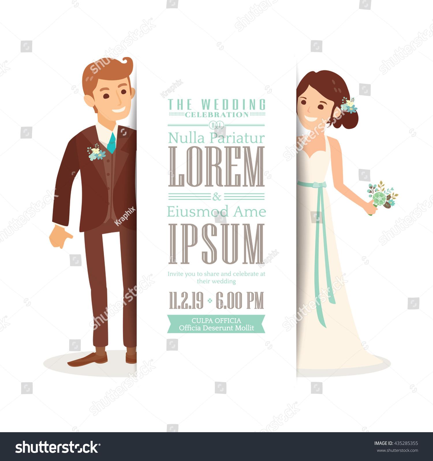 Cute Groom Bride Cartoon Isolated Stock Vector Royalty Free