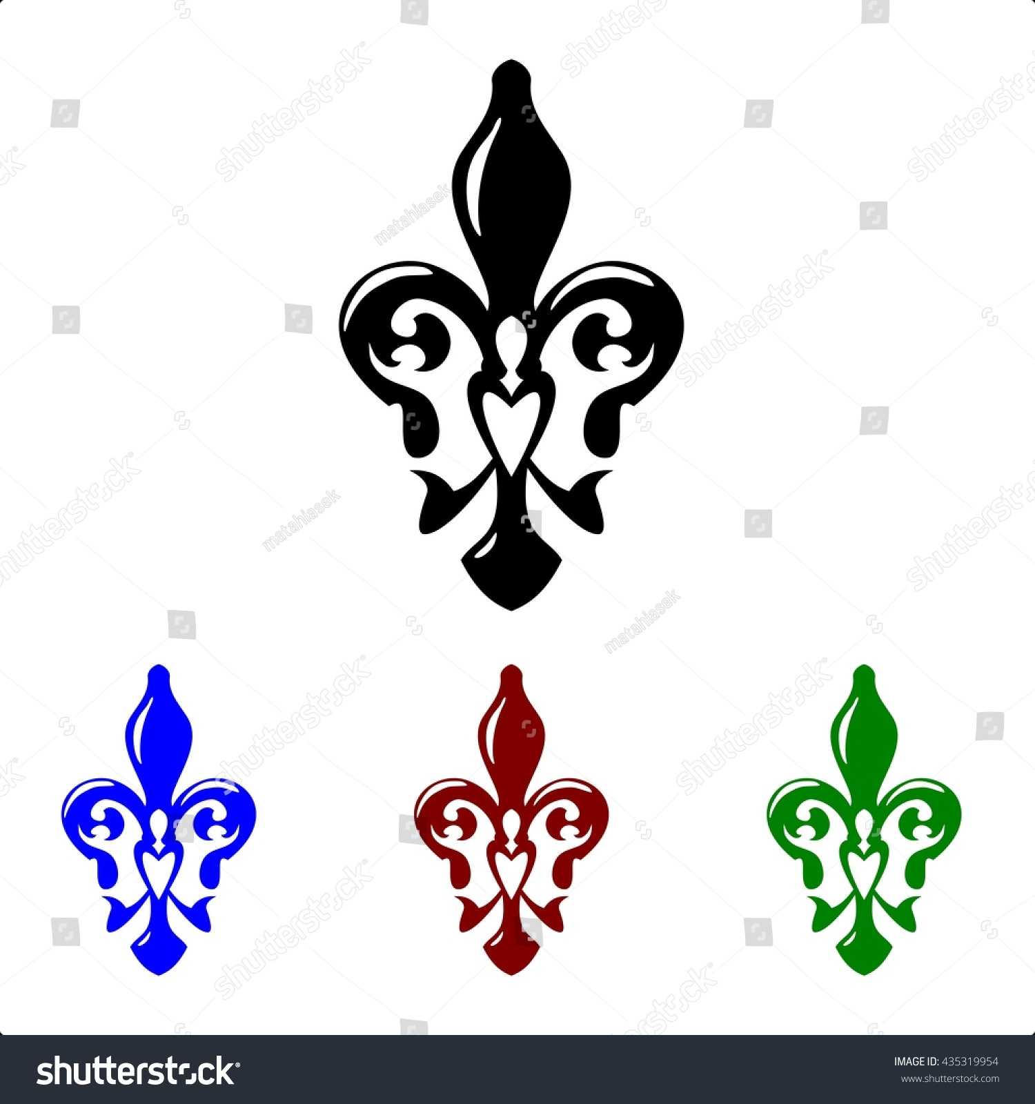 Fleur De Lis Symbol French Lily Icons Isolated On A White