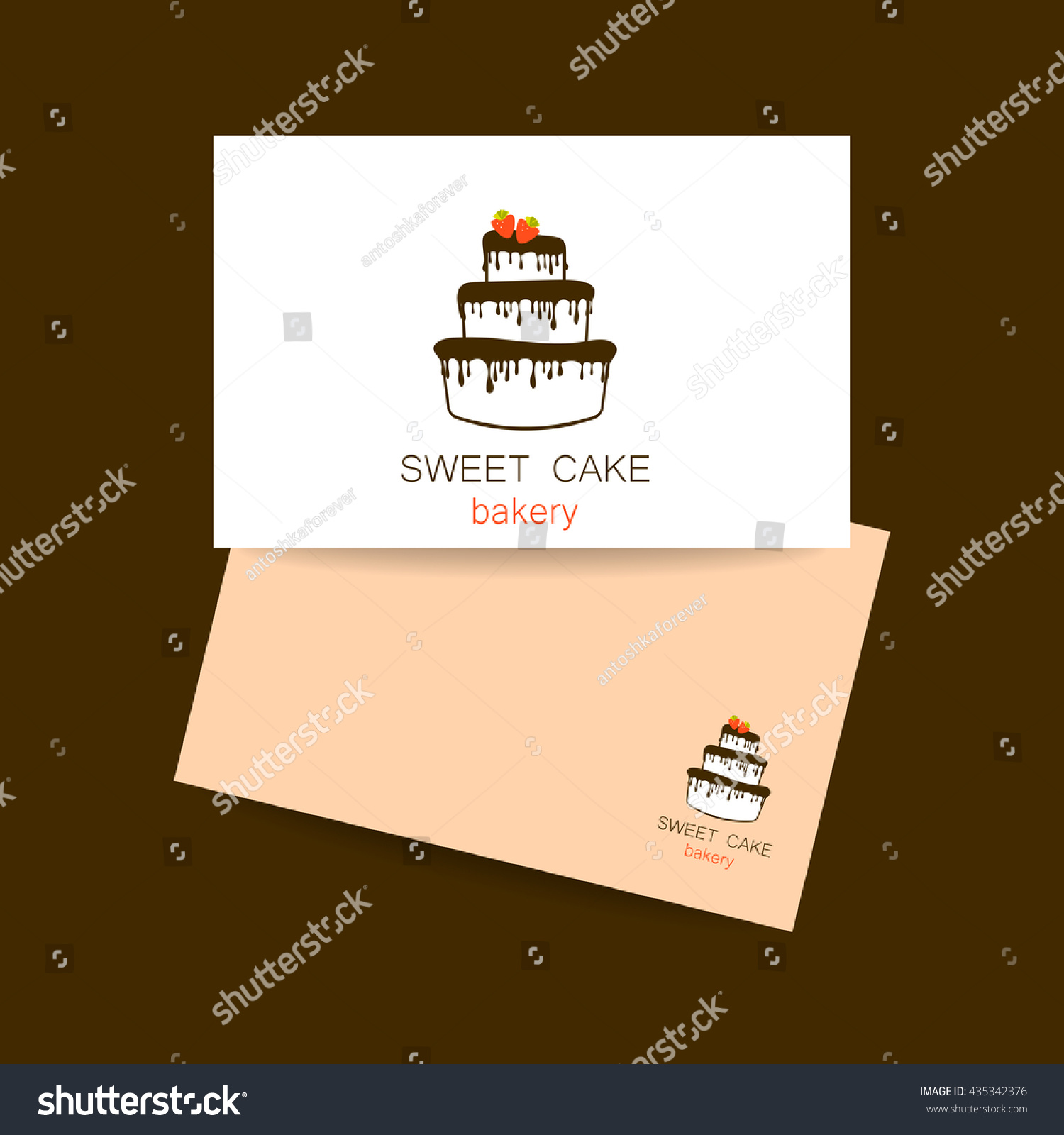 Business Card Design Template Sweet Cake Stock Vector