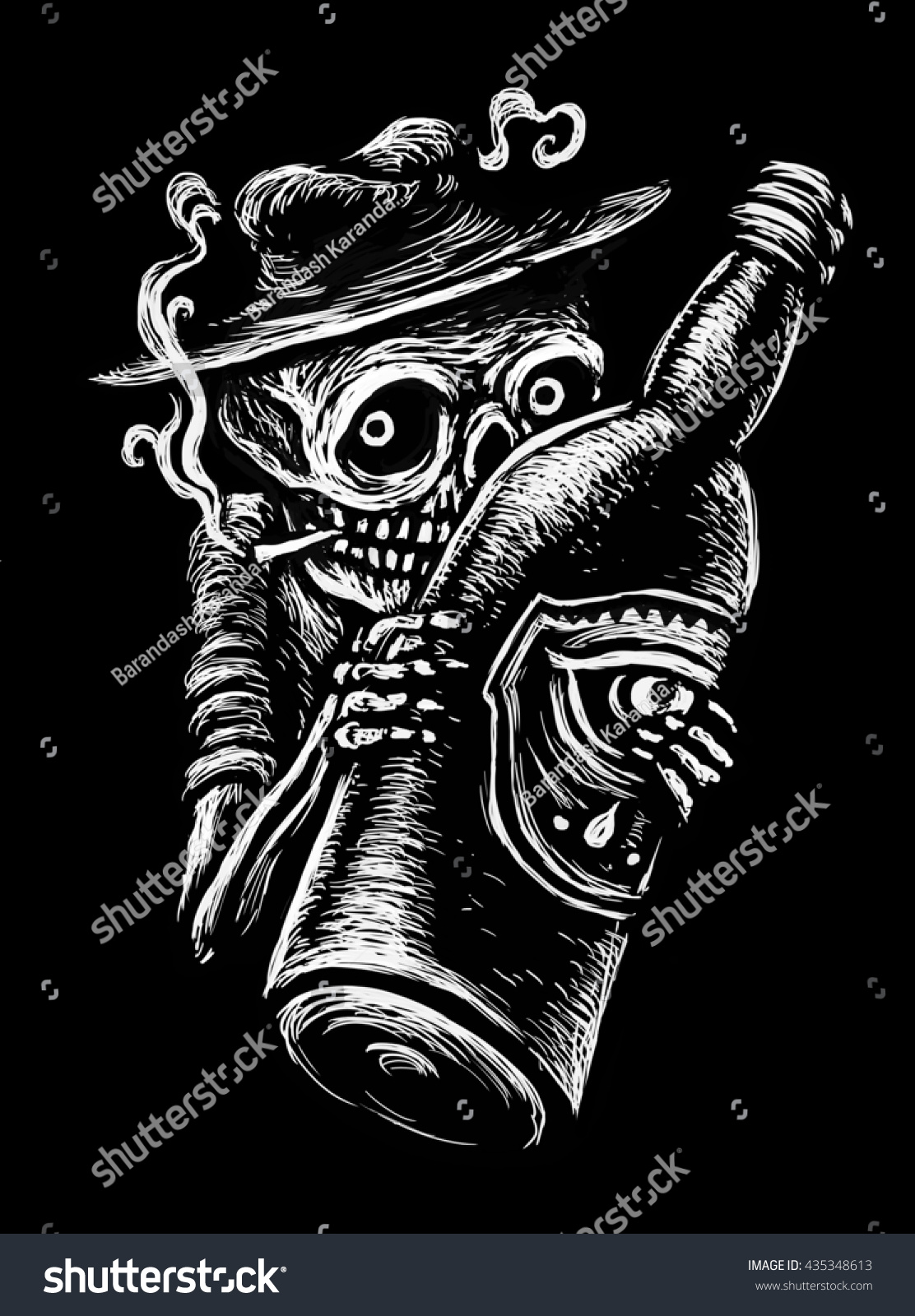 Skeleton in a hat smokes and hugging a bottle of alcohol Graphic illustration comic black background