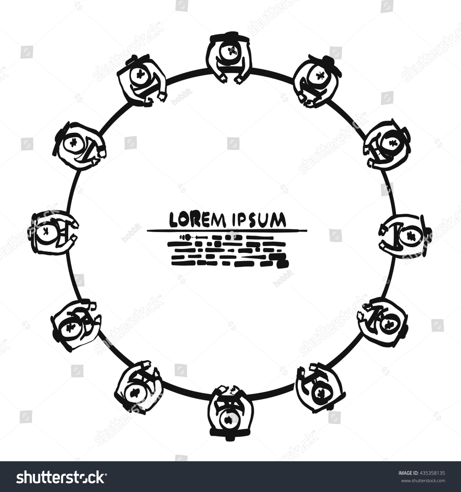 Sketch Hand Drawn Business People Round Stock Vector - Round table clip art