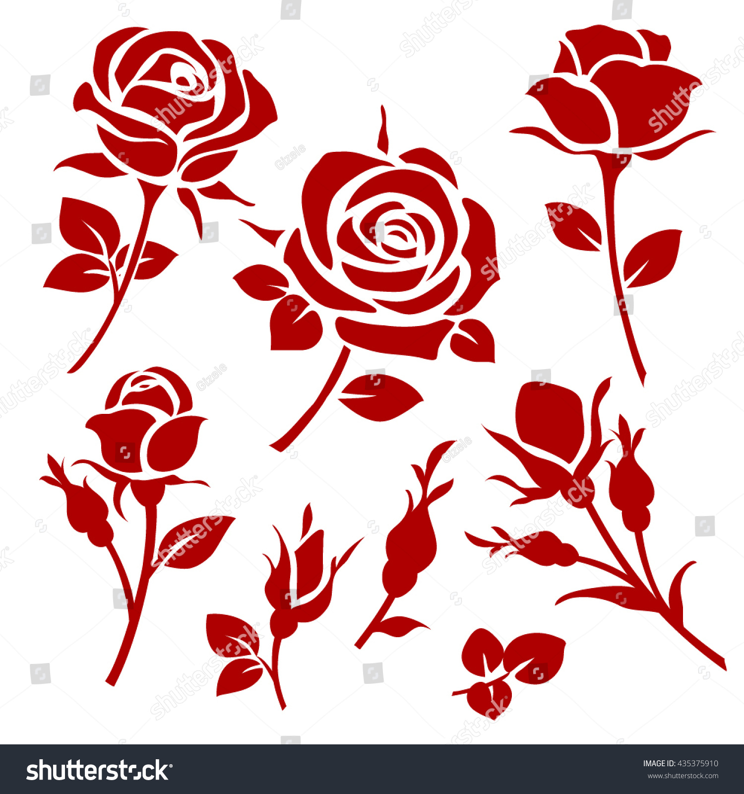 Vector rose icon spring decorative rose 435375910 vector rose icon spring decorative rose and bud silhouettes voltagebd Choice Image