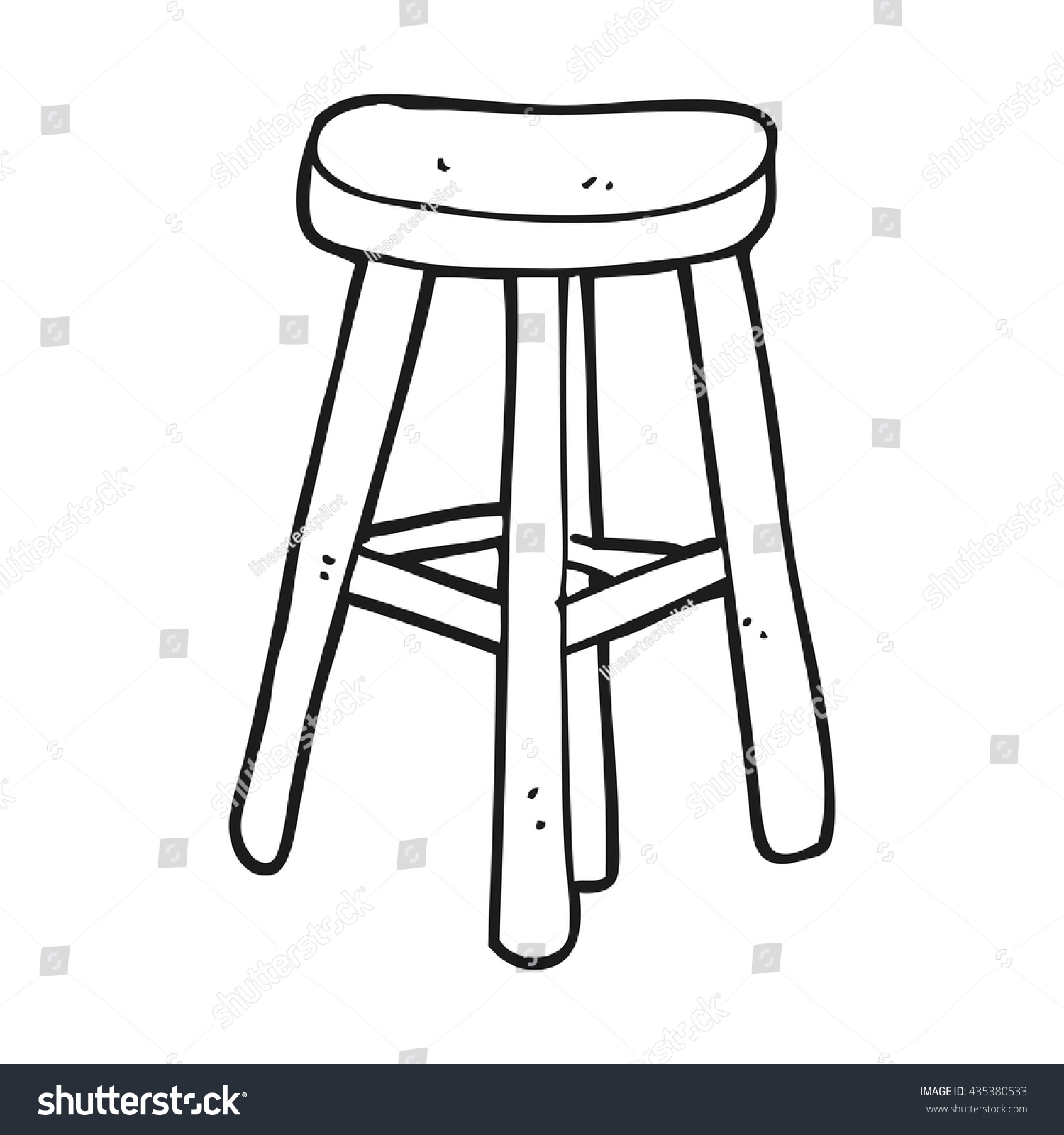 Black and white chair drawing - Freehand Drawn Black And White Cartoon Stool