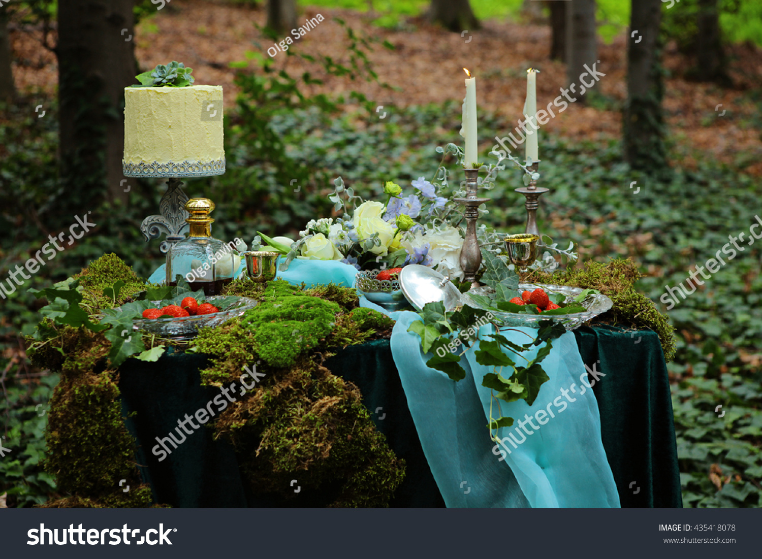 Enchanted forest theme wedding decoration plate stock photo enchanted forest theme wedding decoration plate on the moss candlesstrawberry flowers junglespirit Image collections