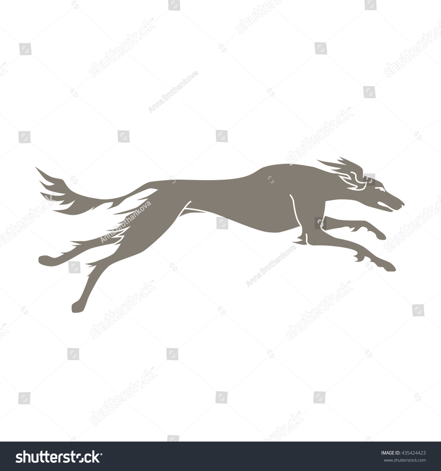 Vector Silhouette Running Dog Saluki Breed Stock Vector ...