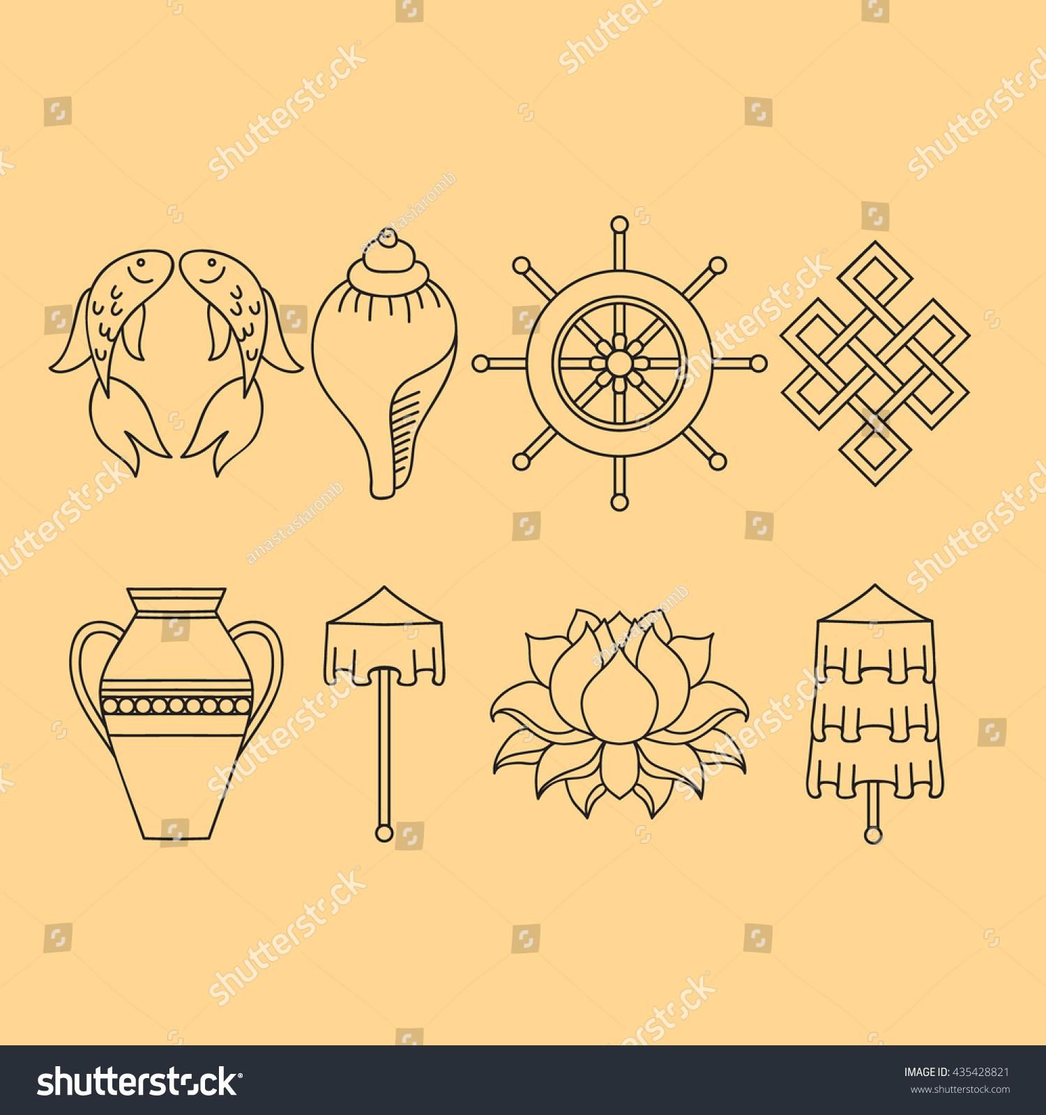 Buddhist symbolism 8 auspicious symbols buddhism stock vector buddhist symbolism the 8 auspicious symbols of buddhism right coiled white conch biocorpaavc Choice Image