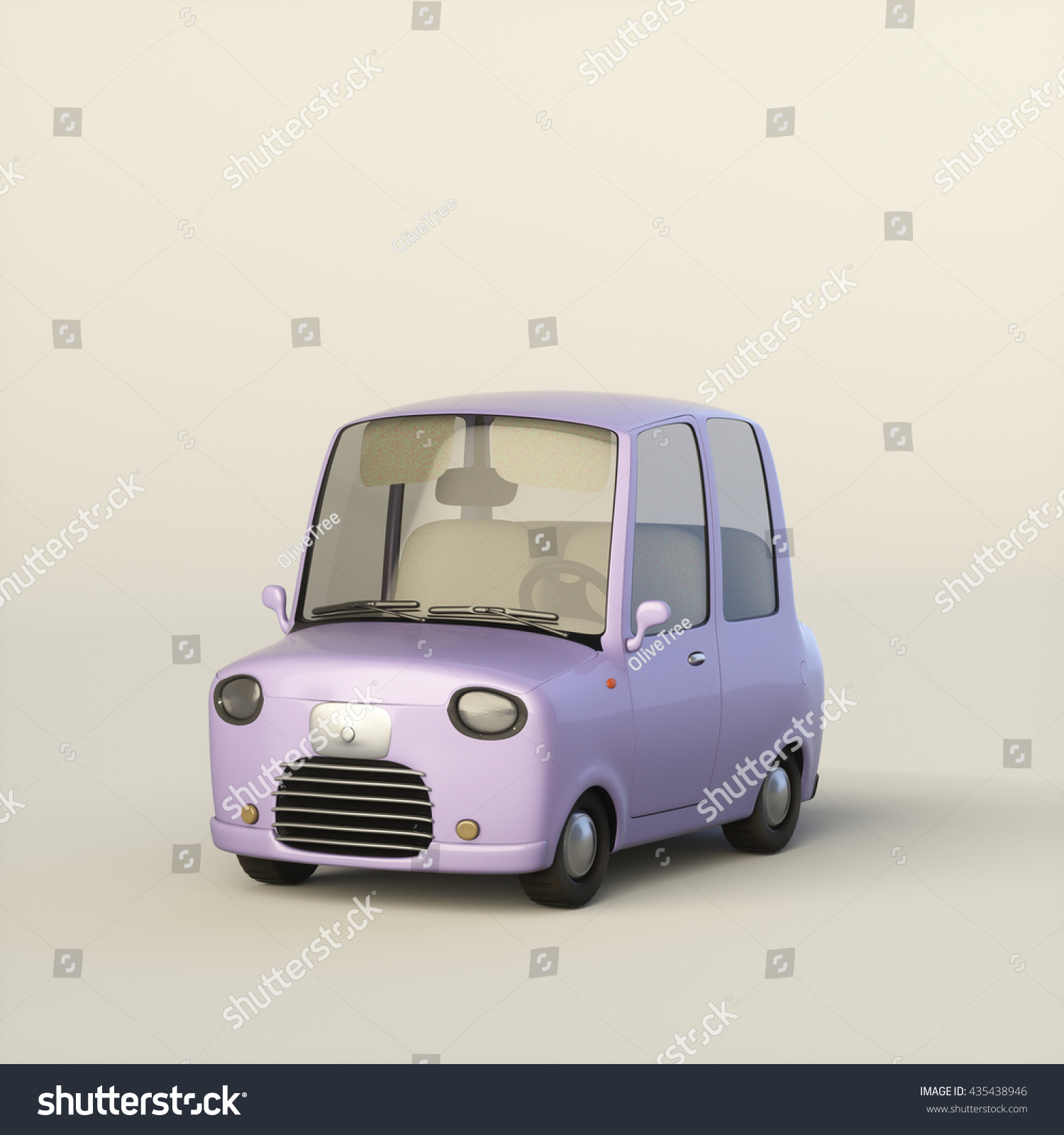Cute Cartoon Stylized Car Lilac Color Stock Illustration 435438946