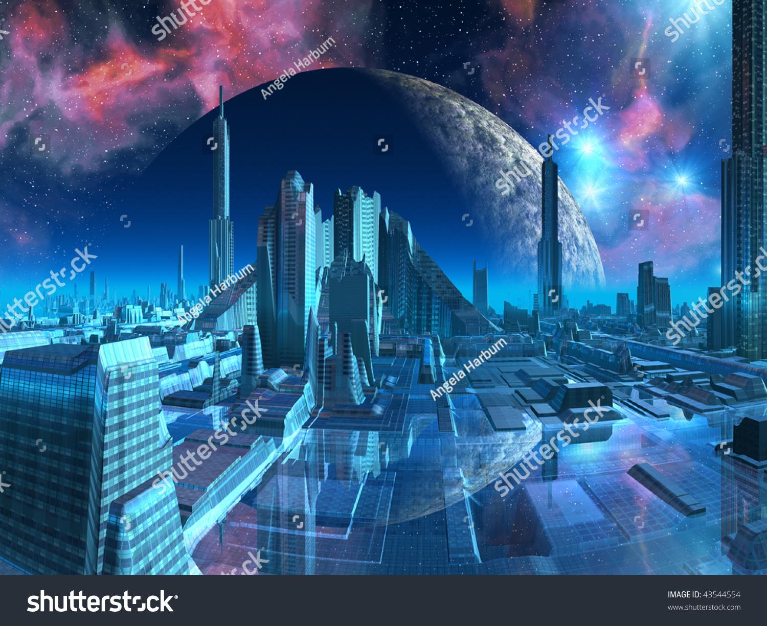 Bright futuristic cityscape