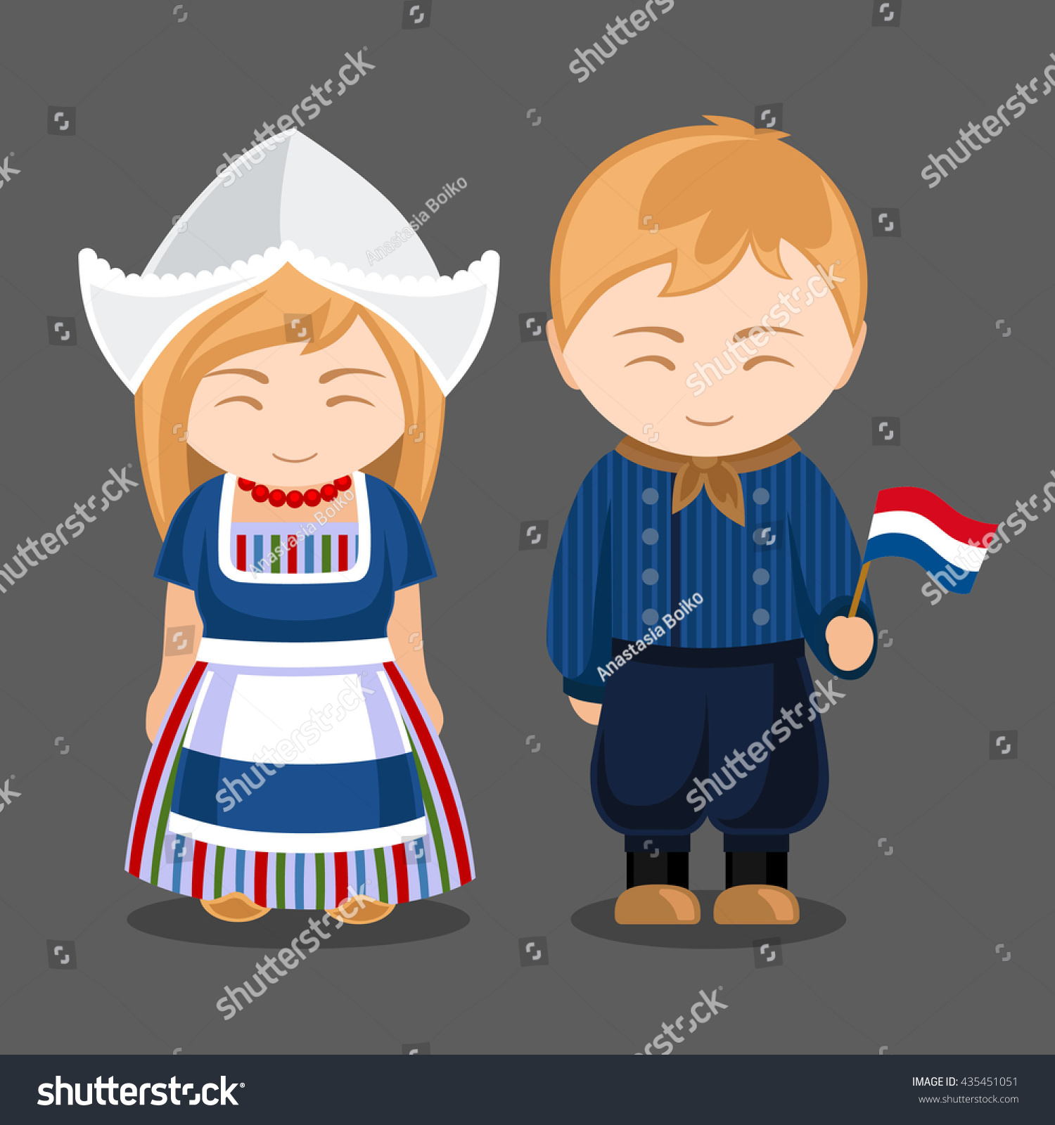 Welcome World League Of Beauty And Fashion Official Web: Dutches National Dress Flag Man Woman Stock Vector