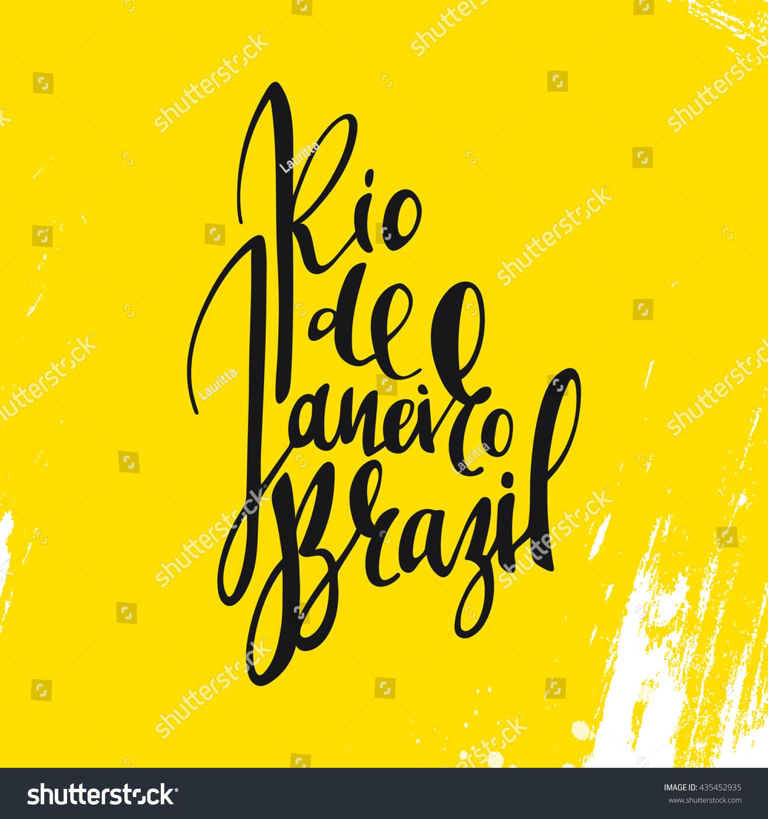 Handmade watercolor brazil flag brasil stock photos freeimages com - Inscription Rio De Janeiro Brazil Background Yellow Calligraphy Handmade Greeting Cards Posters Watercolor
