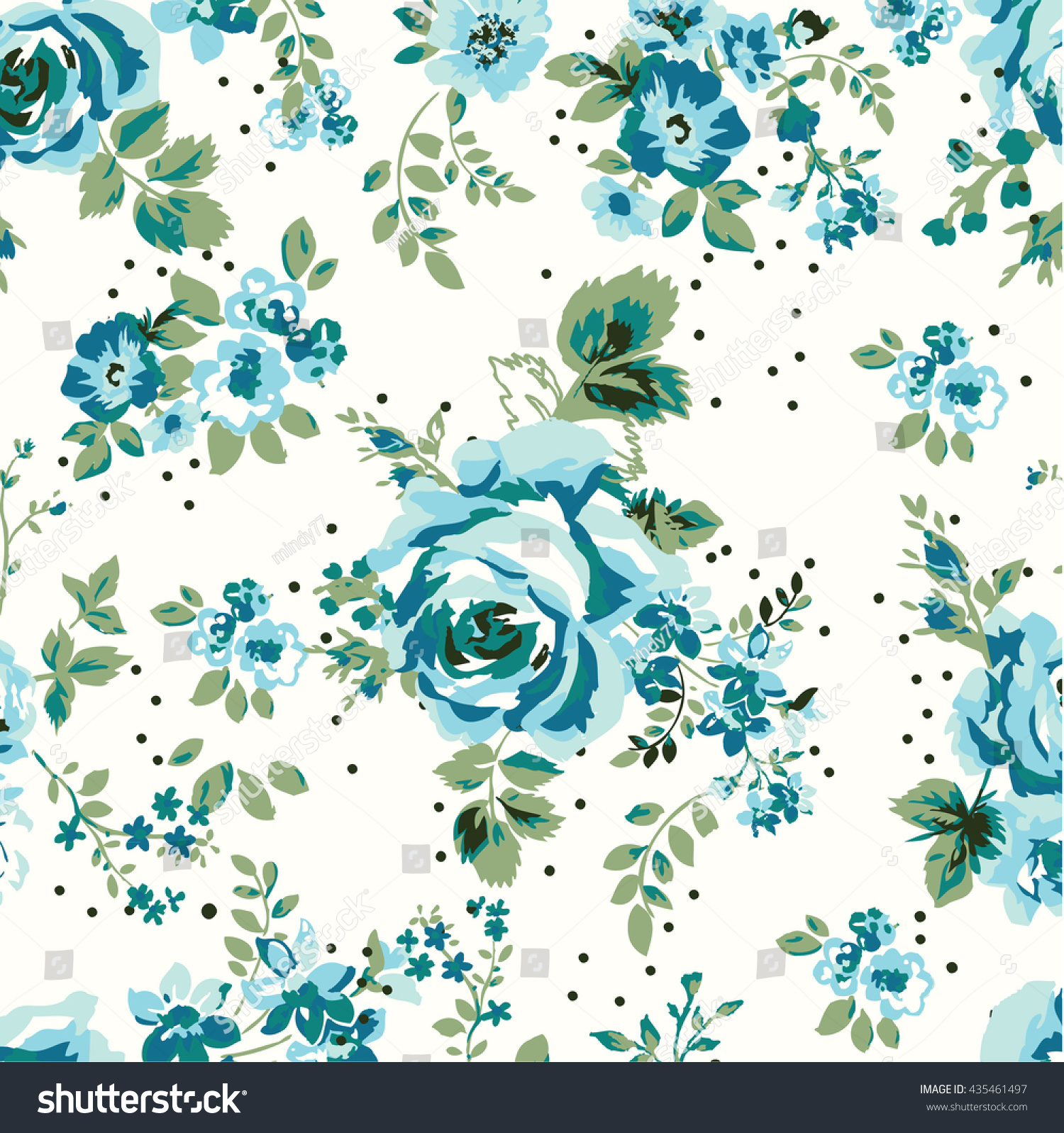 Wallpaper Seamless Vintage Blue Flower Pattern Stock Vector Royalty