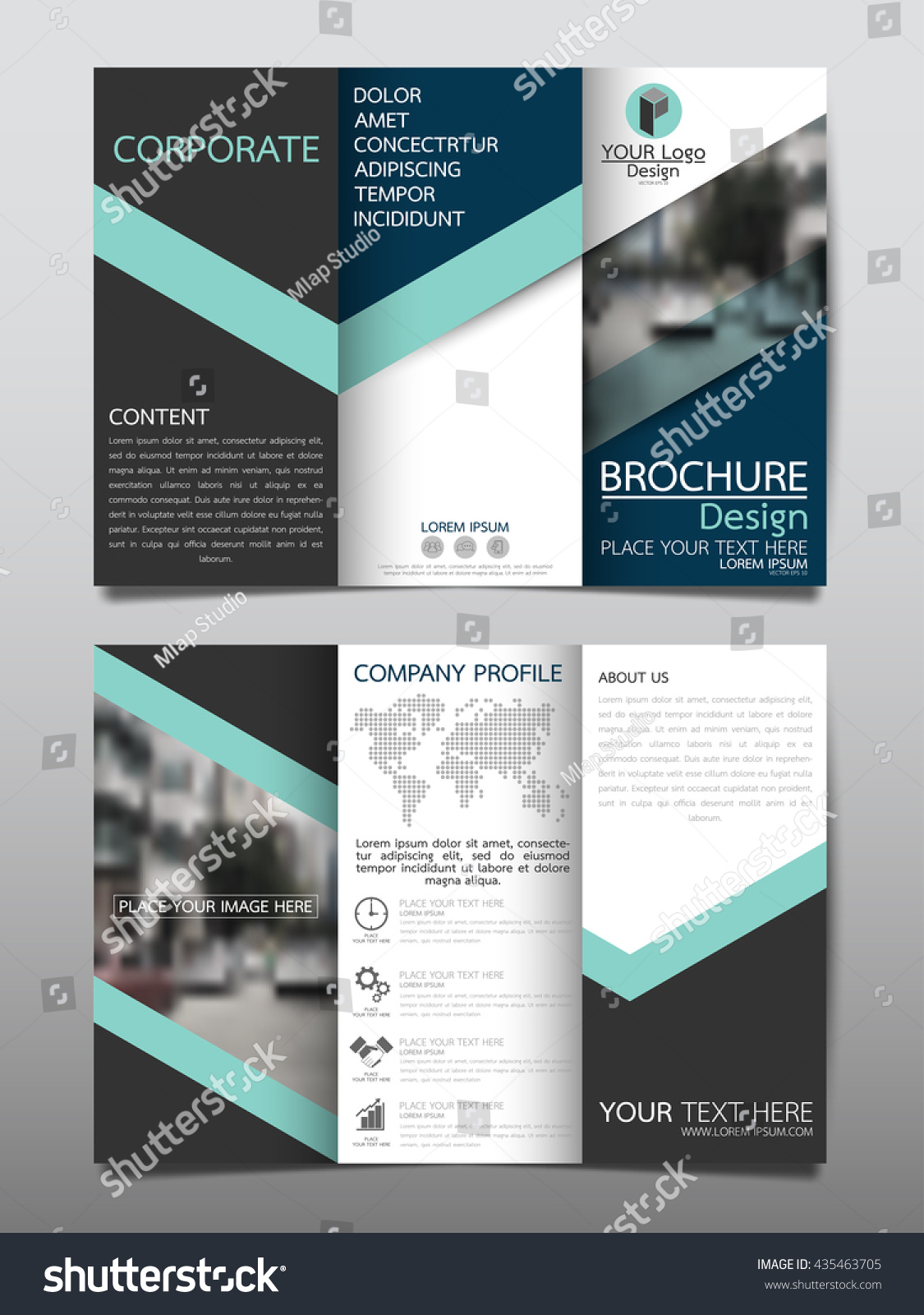 blue business three fold brochure annual stock vector royalty free