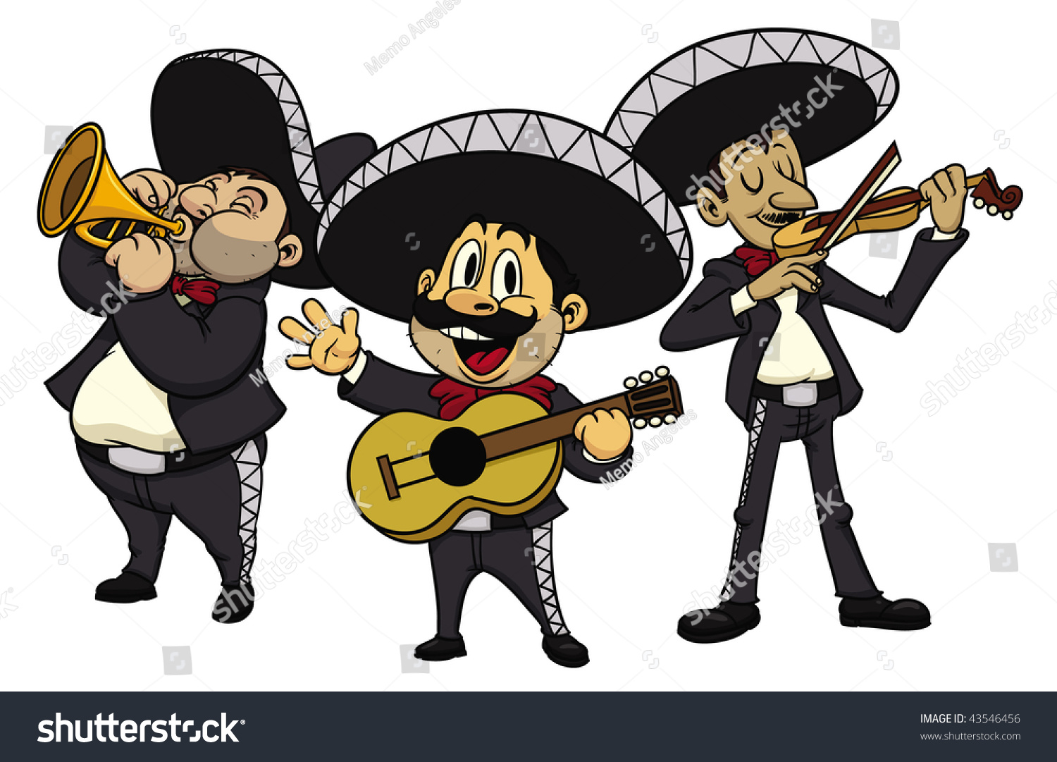 Three Cartoon Mariachis All Separate Layers Stock Vector ...