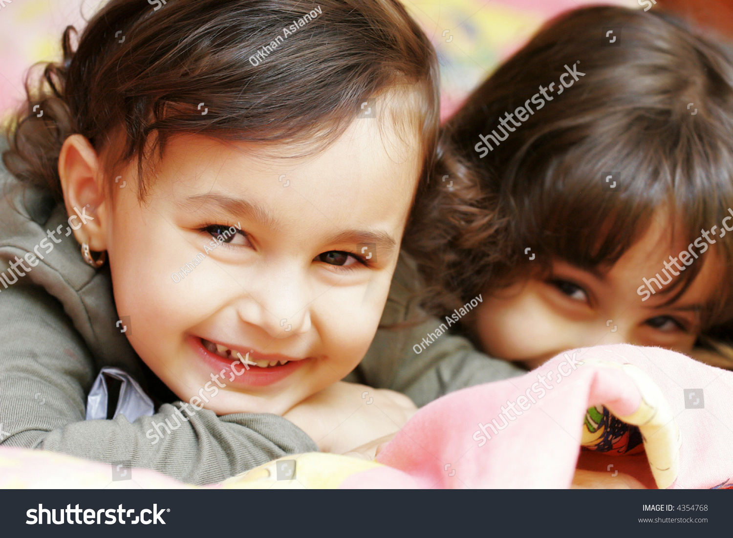 nice two small girls looking camera stock photo (safe to use
