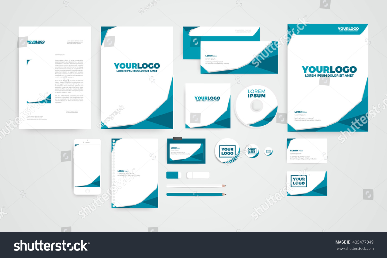 mini polygon corporate identity template design stock vector