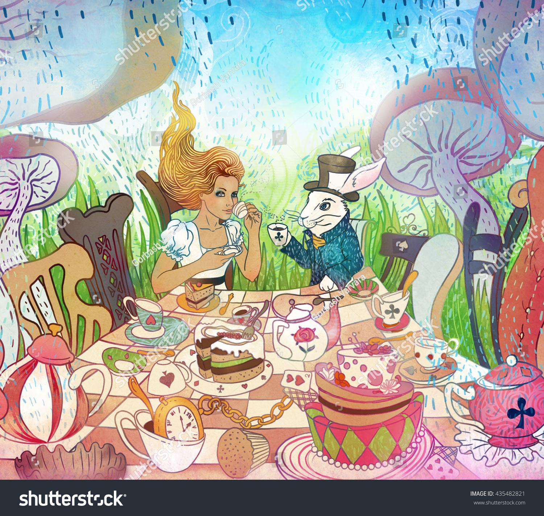 Mad Tea Party Alices Adventures Wonderland Stock Illustration ...