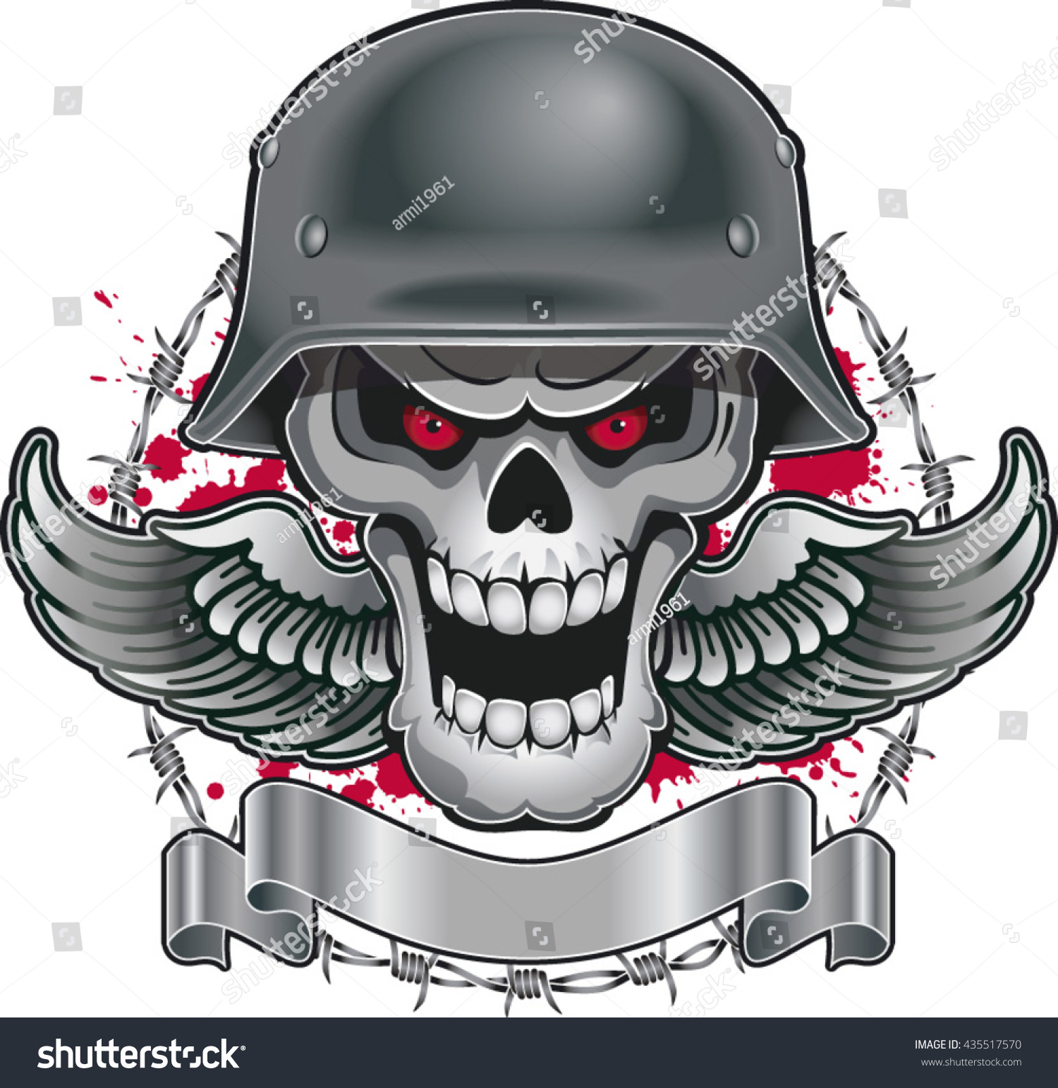 Skull with military helmet wings barbed wire end banner 435517570
