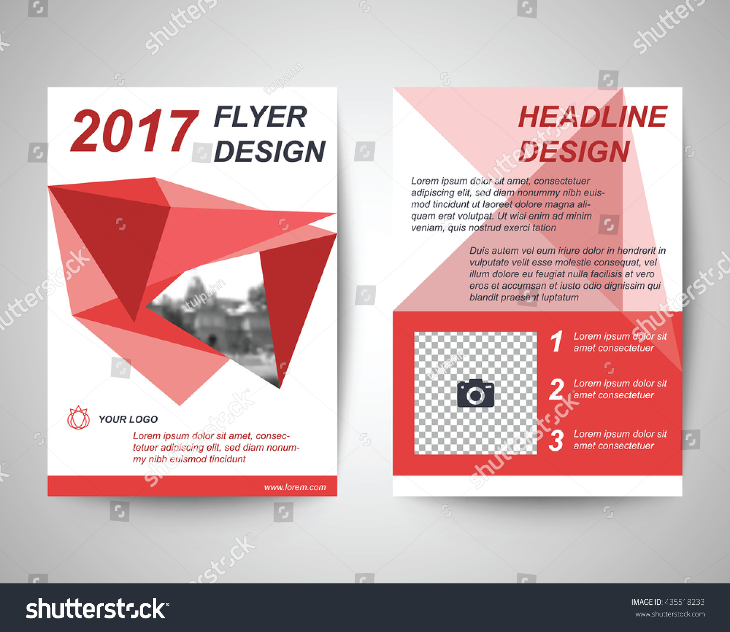 Red abstract flyer layout template brochure stock vector for Red brochure template