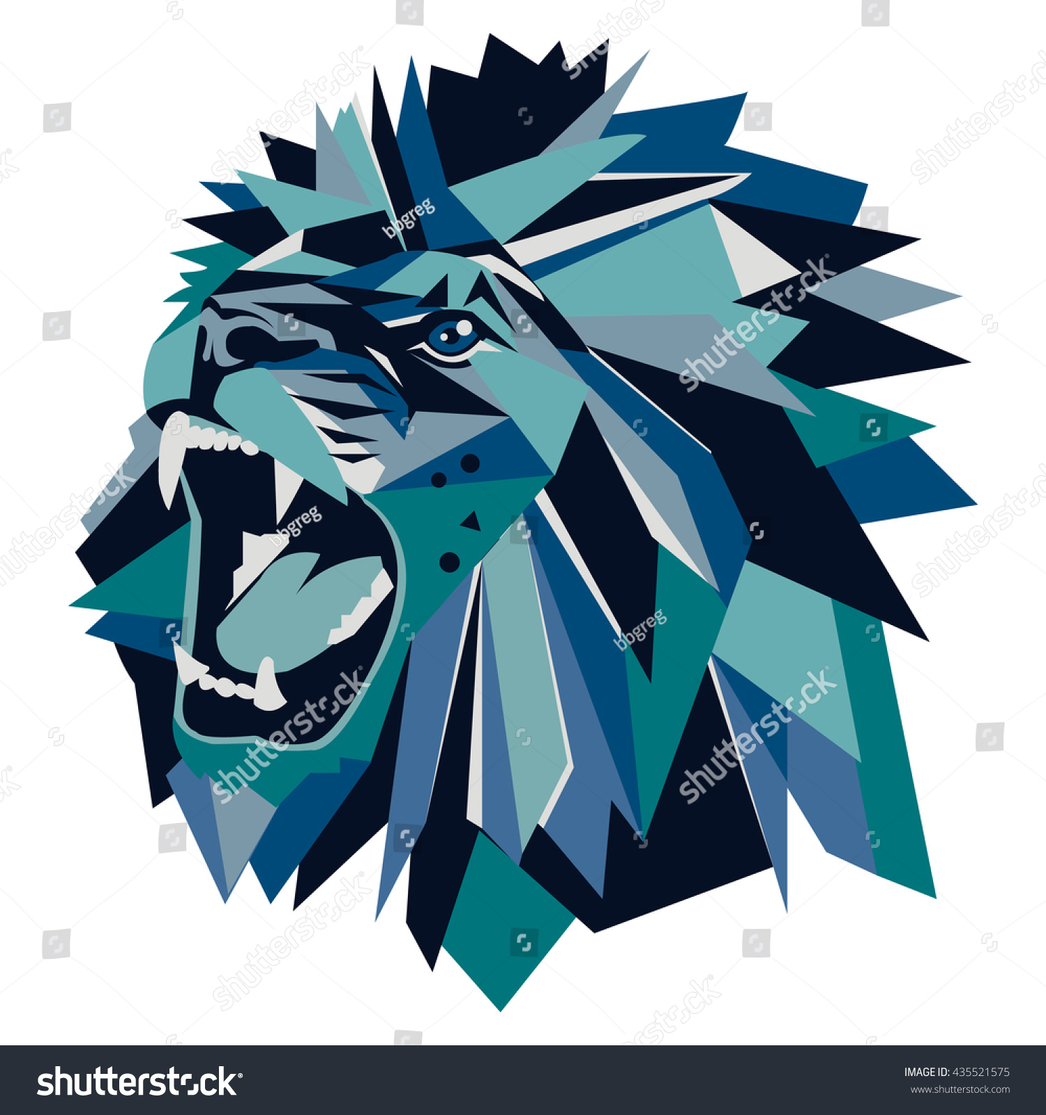 Vector Illustration Geometric Lion Head Stock Vector Royalty Free